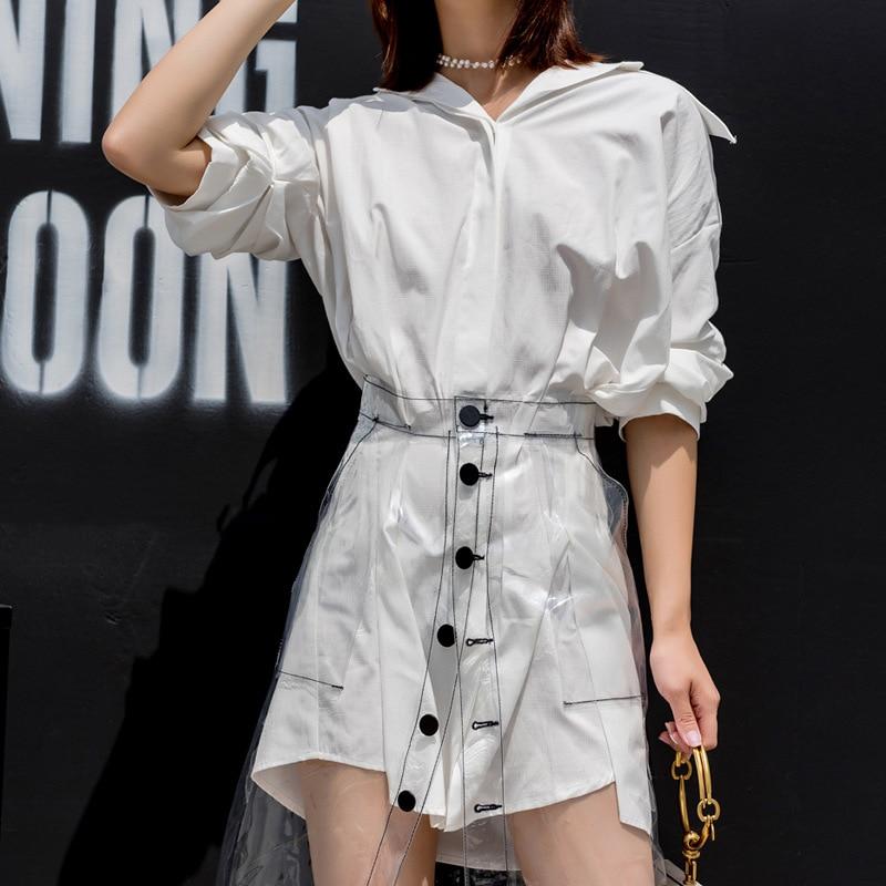 Harajuku Transparent Perspective À Jupe L'extérieur Faldas Portant Moda Jupes Vêtements Mujer Un Femmes De 2018 Pvc gqYWrORqwx