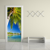 Palm Tree By The Lake Vinyl Wall Stickers Creative Door Renovation Stickers for Living Room Bedroom Home Decor DM033