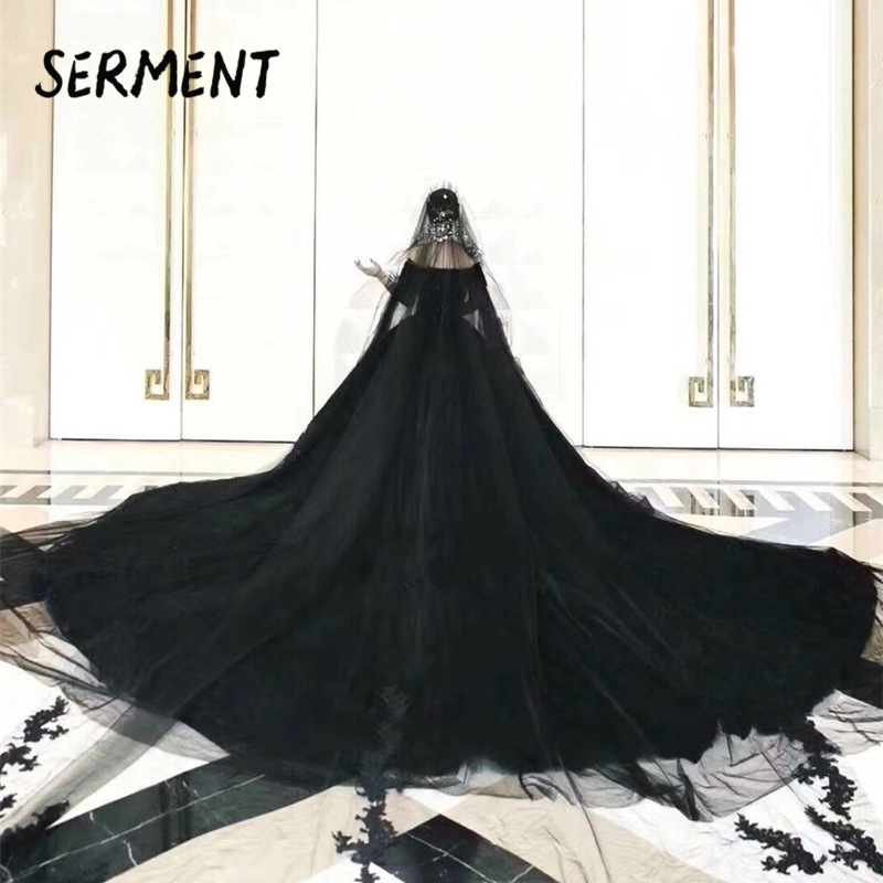 SERMENT  Vintage 2019 Gothic Black Wedding Dresses New Ball Gown Sweetheart Applique Lace Bridal Dress