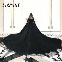 SERMENT  Vintage 2019 Gothic Black Wedding Dresses New Ball Gown Sweetheart Applique Lace Bridal Dress