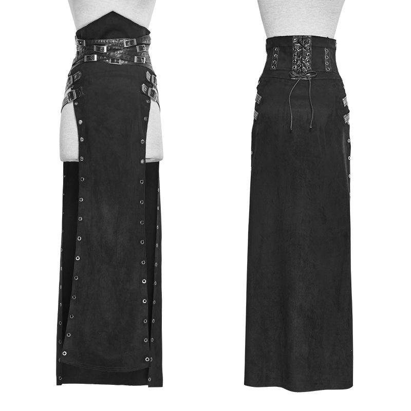 Панк рейв для женщин Готический стиль Сексуальная юбка стимпанк рок Copslay этап личности хип хоп длинная юбка в пайетках