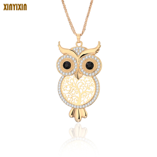 601eb9e4b4c XINYIXIN Big Creative Crystal Owl Pendant Necklace for Women Long Sweater  Chain Necklace Jewelry Christmas Prom Gift
