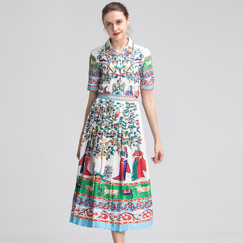 New Summer Pretty 2 Pieces Print Women Sets High Quality Fashion Short Sleeve Turn-down Collar Shirts +Pleated Skirts Slim Suits
