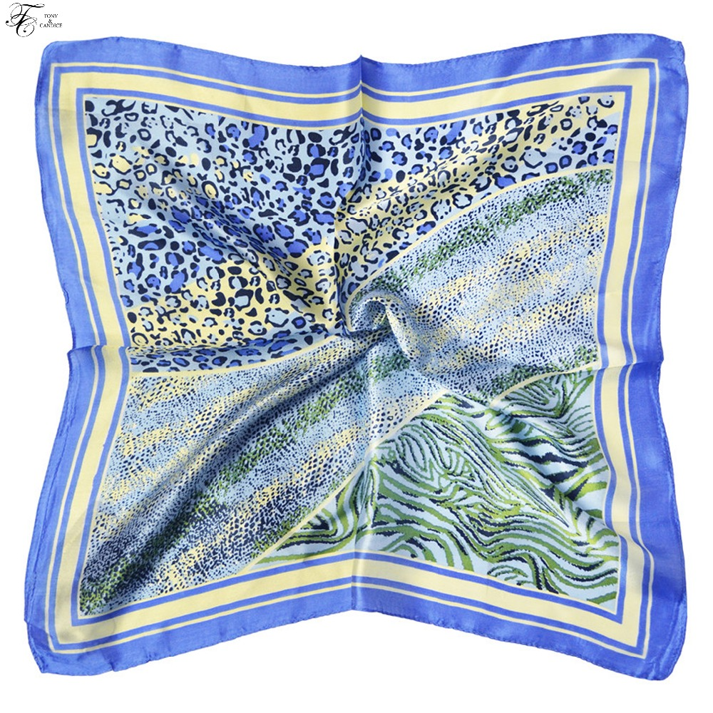 Tony&Candice 100% Silk Scarf Square Women 53*53CM  Scarves Ladies Ring&Wrap Oil Pattern Luxury Style  Soft Satin Neckerchief