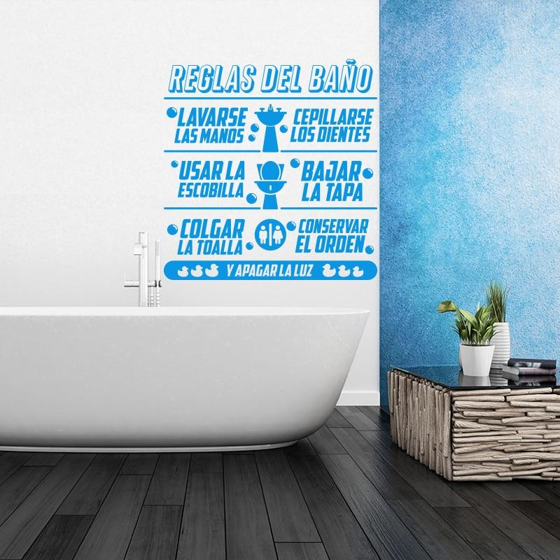 Art Design Zasady łazienki w języku hiszpańskim Cytat Naklejka - Wystrój domu - Zdjęcie 5