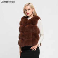 Jancoco Max 2019 Womens Real Fox Fur Vest Autumn Winter Fashion Gilet Lady Casual Waistcoat  New Arrival S7163