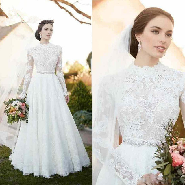 High Neck Vintage Lace Wedding Dresses 2017 Appliques Illusion Long Sleeve Wedding Dresses with Sash Beaded A Line Bridal Gown