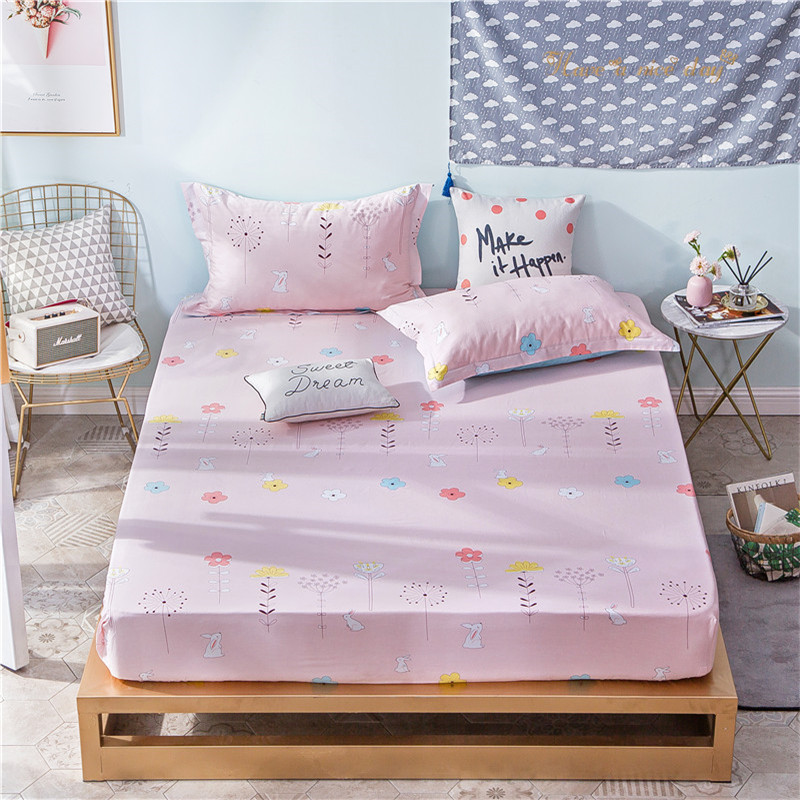 Red Color Print Fabric Polyester Bedding Sets Fitted Sheet Bed Sheets Comfort Mattress Cover Pillowcase Bed cover Queen Size