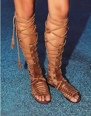 Sexy Summer Women Flat Gladiator Knee High Boots Suede Leather High Quality Sandal Boots Lace Up Fringe Bohemia Ladies ZapatosSexy Summer Women Flat Gladiator Knee High Boots Suede Leather High Quality Sandal Boots Lace Up Fringe Bohemia Ladies Zapatos