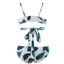 New Women Sexy Green Leaf Print Low Waist Bikinis Push-up