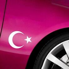 14*10cm İslam türkiye bayrağı yıldız yıldız araba Sticker yarım moda kişilik yaratıcılık vinil çıkartmaları araba Styling araba etiket