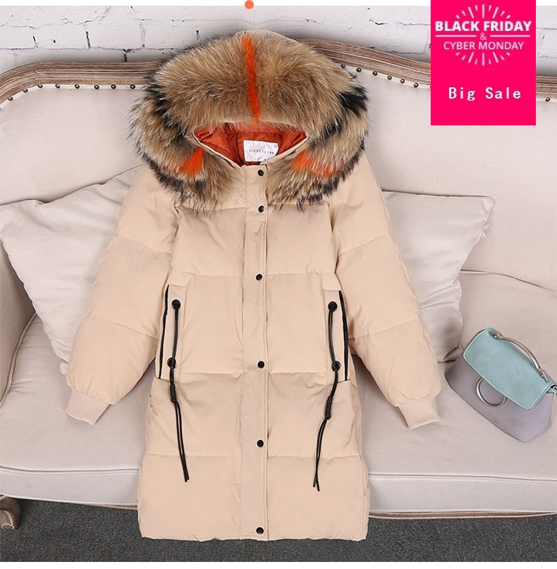 90% duck   down     coat   fashion brand zipper   down   jacket female big real raccoon fur collar hooded thicker warm   down     coat   wq45