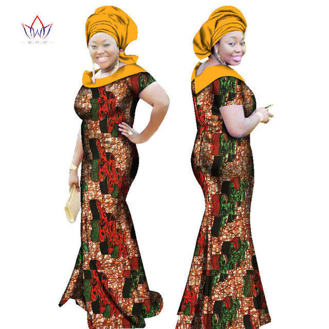 f1e64f87e91 BRW 2017 Autumn African Dresses for Women Party Bazin Riche Dress African  Plus Size 6xl Wax Print Dashiki Cotton Dresses WY2384