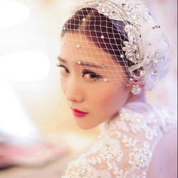 Cappello con veletta Новинка 2019 года белый Прозрачная вуаль шляпа Свадебные Оптовая Клетка вуаль настоящая фотография сомбреро mujer boda