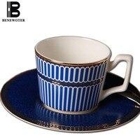 220ml Blue Vertical Stripes Ceramic Bone China Coffee Cup Set With Saucer Kit Espresso Coffee Tea