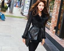 2017 New Women Winter Jacket Luxury Fox Fur long section snake skin pattern plus cashmere warm Slim jacket female winter