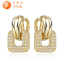 2016 High Quality Bijoux Jewelry Fashion Hoop Earrings for Women White Crystal Cubic Zirconia Gold Color Earrings Clear Earring fym high quality gold colors bijoux jewelry hoop earrings crystal cubic zirconia earrings clear earring for women party