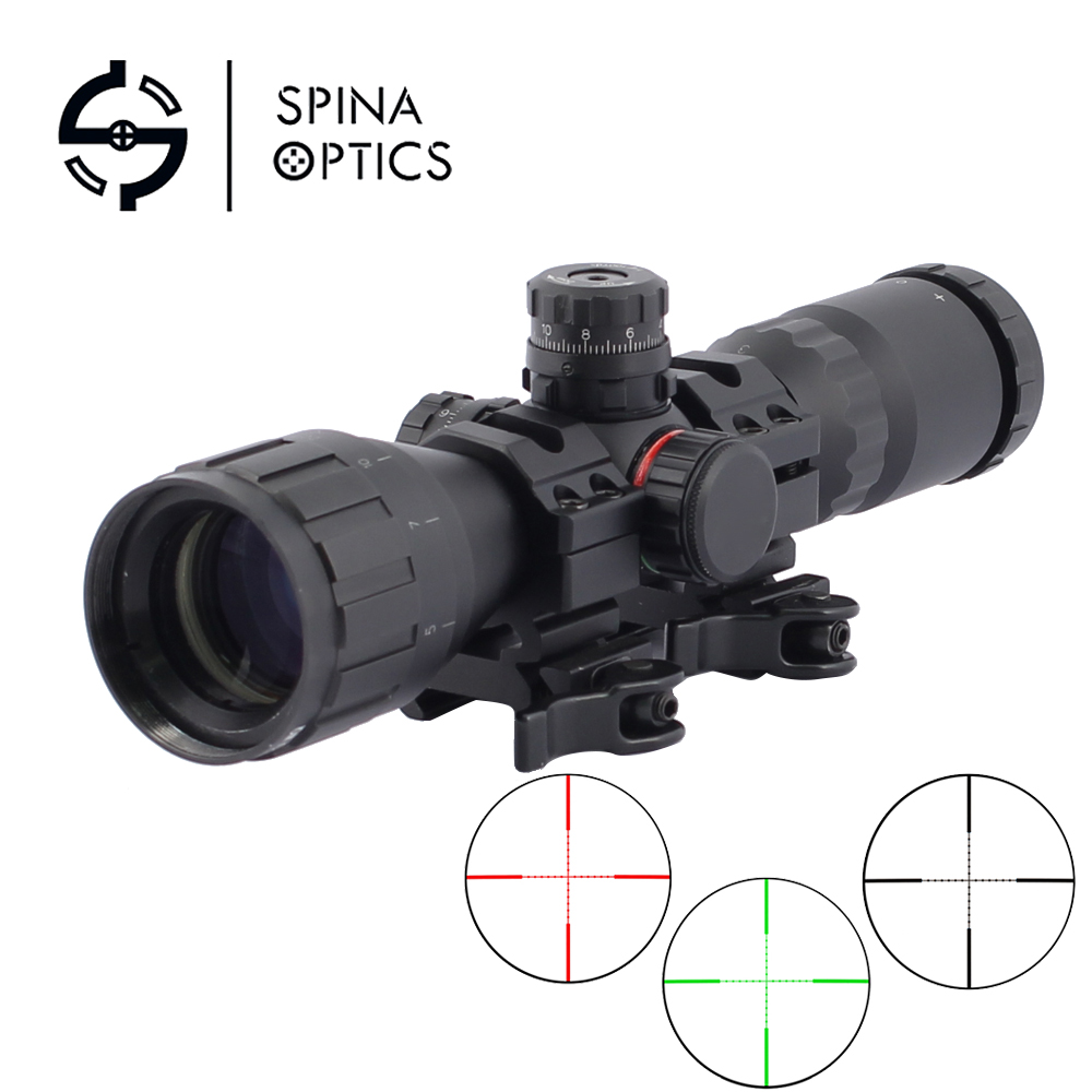 SPINA OPTICS 3-9x32 AO 1inch Tube Mil-dot Compact Riflescope With Sun Shade and QD Rings Tactical Rifle Scope leapers utg 3 9x32 aolmq compact mil dot reticle hunting optics riflescopes locking w sun shade