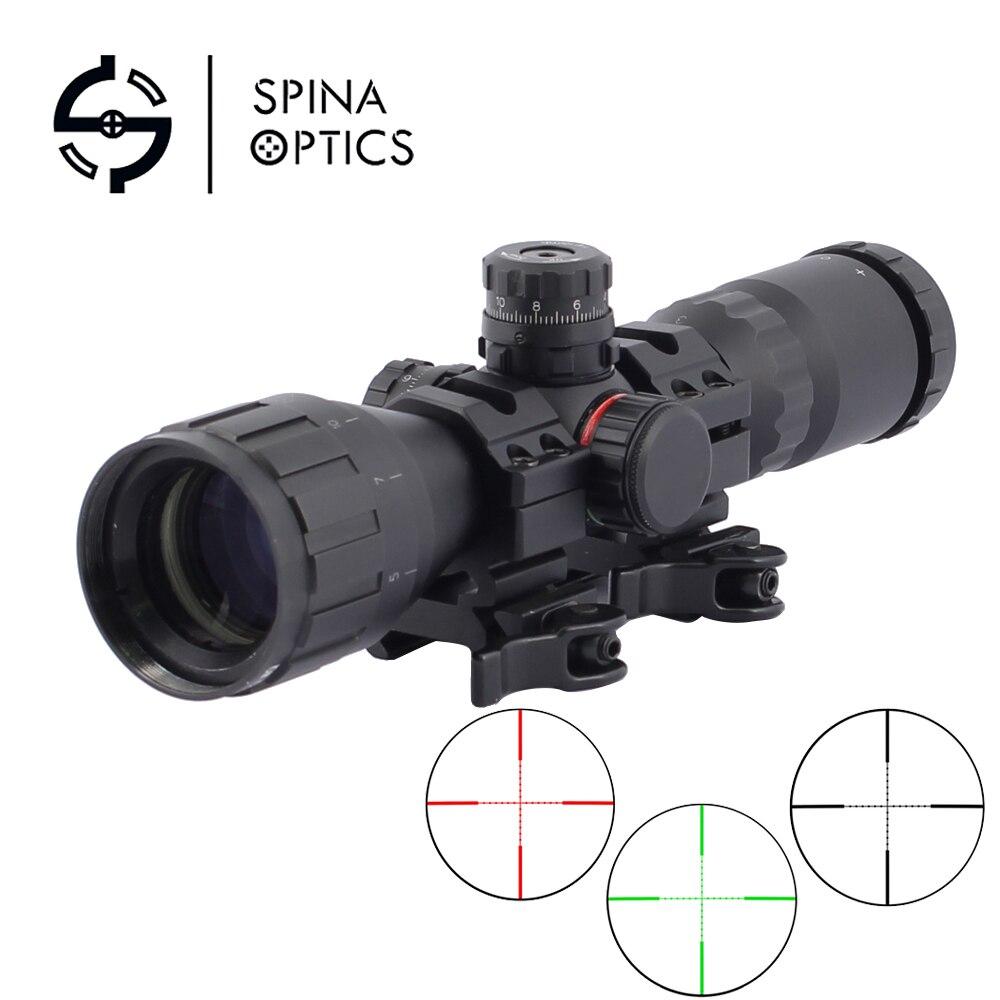 SPINA optique 3-9x32 AO 1 pouce Tube Mil-dot lunette de visée compacte avec pare-soleil et anneaux QD portée de fusil tactique