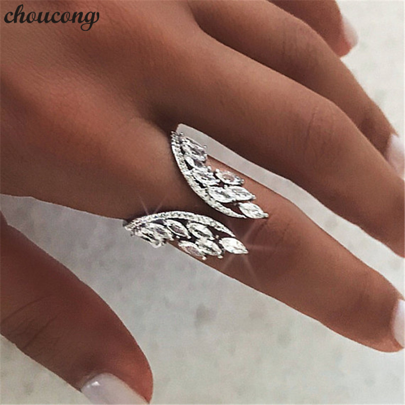 Choucong Weibliche Engel flügel Ring 925 sterling Silber AAAAA Zirkon cz Engagement Hochzeit Band Ringe Für Frauen Finger Schmuck Geschenk
