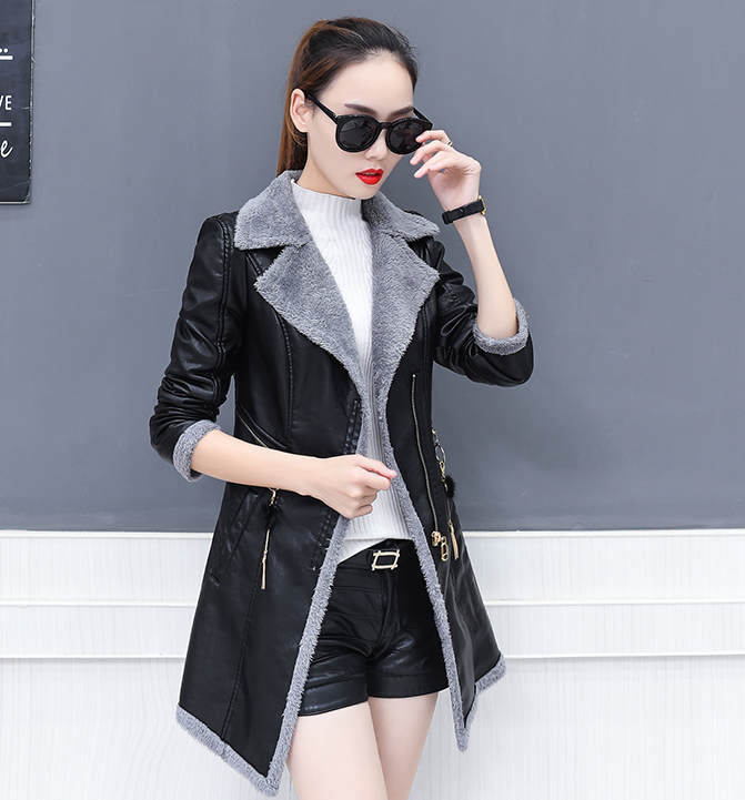 Korean Autumn Winter Coat Women Fake Fur Padded Warm Pu   Leather   Coats Black Plus Size Faux   Leather   Coat Jacket Casaco Feminino