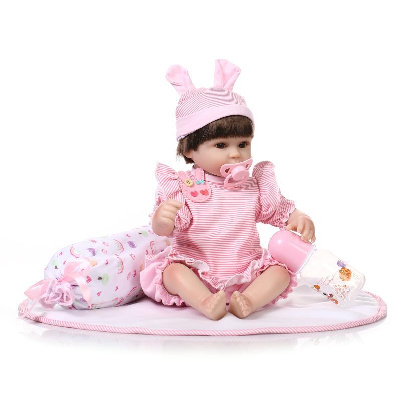 40 silicone souple reborn bébé poupées réaliste mignon nouveau-né fille bébé poupée jouet pour enfant cadeau d'anniversaire coucher jeu maison jouet