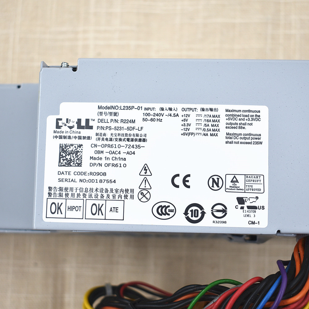 DELL OPTIPLEX 760 780 960 SFF 235W POWER SUPPLY 67T67 RM112 PS-5231-5DF1 R224M