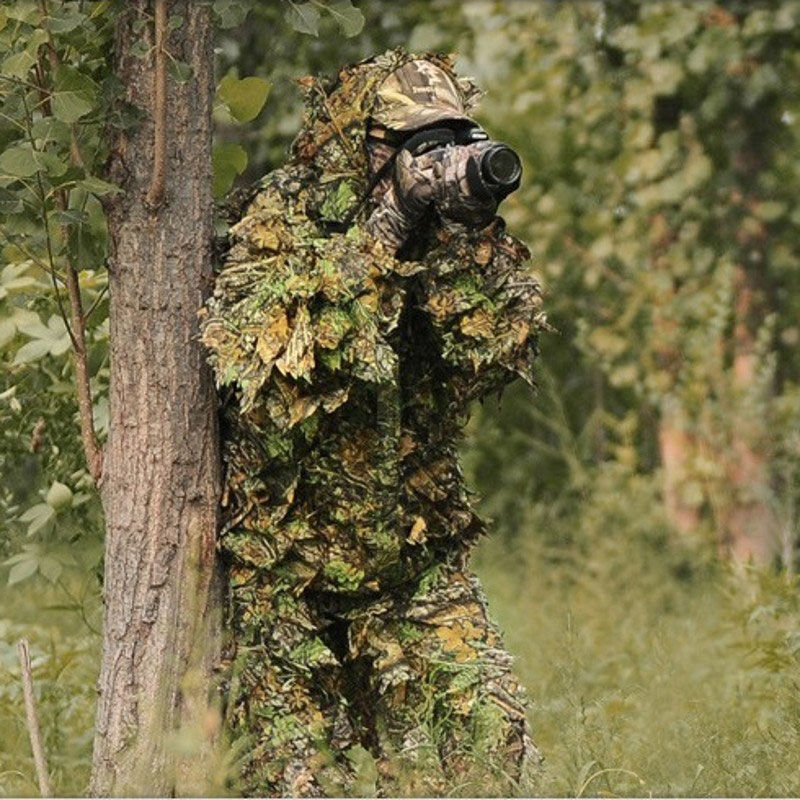 Hunting Birding Durable Outdoor Woodland Sniper Ghillie Suit Kit Cloak Military 3D Leaf Camouflage Camo Jungle Clothing