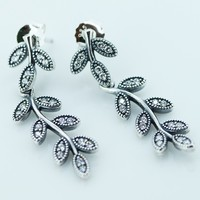 925 Sterling Silver Jewelry Sparkling Leaves Earrings with Clear Cubic Zirconia Free Shipping