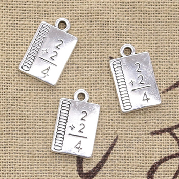 8pcs Charms study math book 17x10mm Antique Silver Plated Pendants Making DIY Handmade Tibetan Silver Finding Jewelry