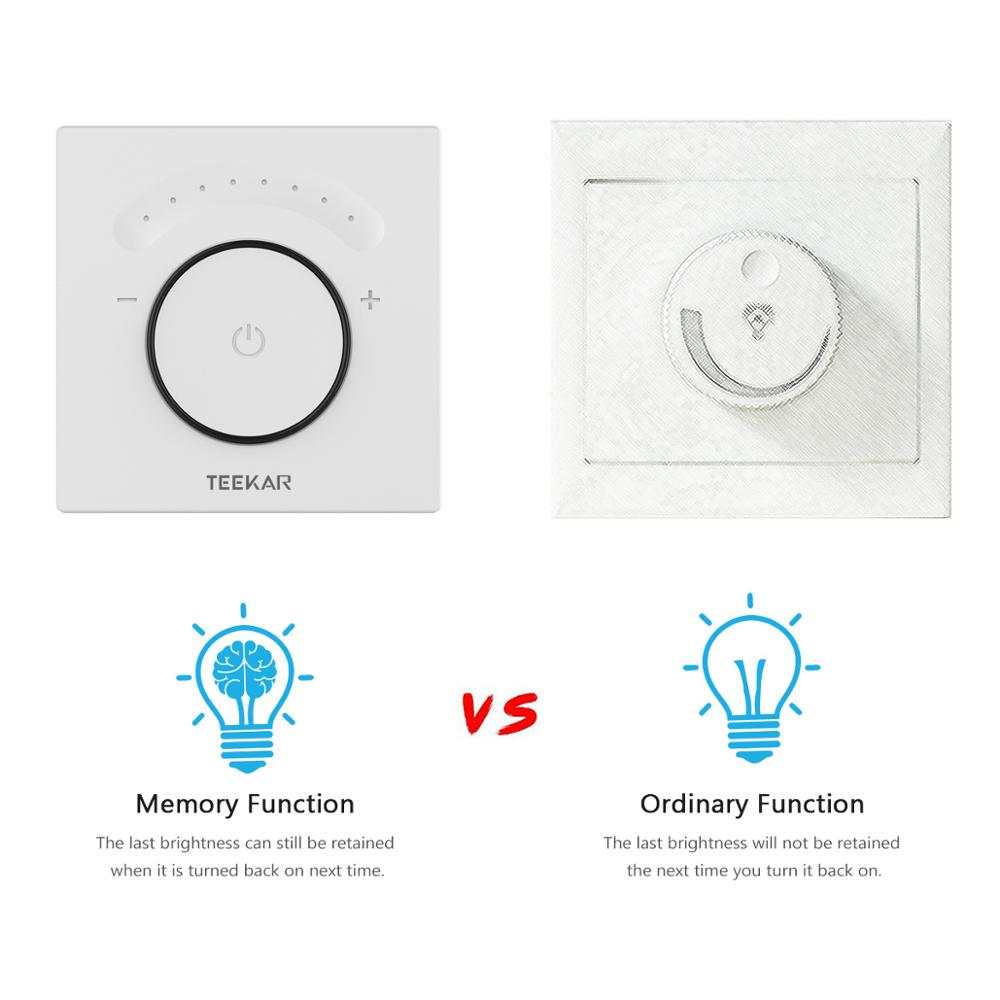 Teekar Smart Light Dimmer Switch EU Standard Wifi  Light Switch Touch APP Remote Control Work With Amazon Alexa Include LED Bulb