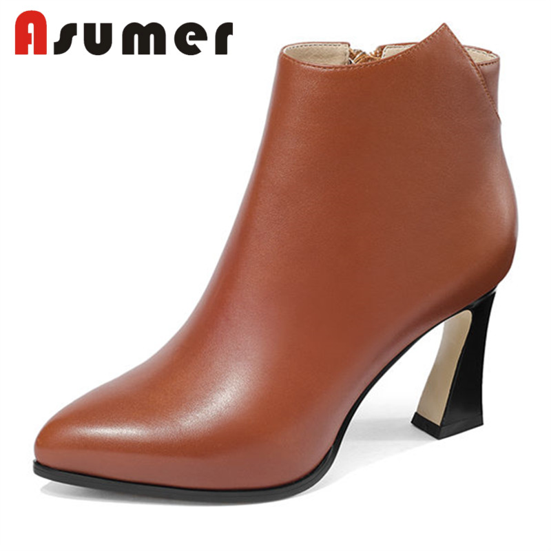 ASUMER HOT SALE 2018 pointed toe ankle boots for women strange heels shallow boots high heels solid sexy genuine leather bootsASUMER HOT SALE 2018 pointed toe ankle boots for women strange heels shallow boots high heels solid sexy genuine leather boots