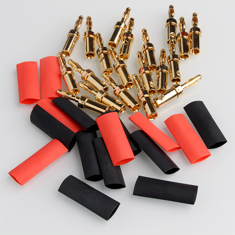 YT 20PCS/Set Banana Plug 4mm Gold Plated for HiFi Musical Audio Cable Wire Screw Metal Connectors with Heat Shrink Tubing Set bp450g high quality gold plated 4mm retractable banana plug stackable solder type with protective sleeve 20pcs