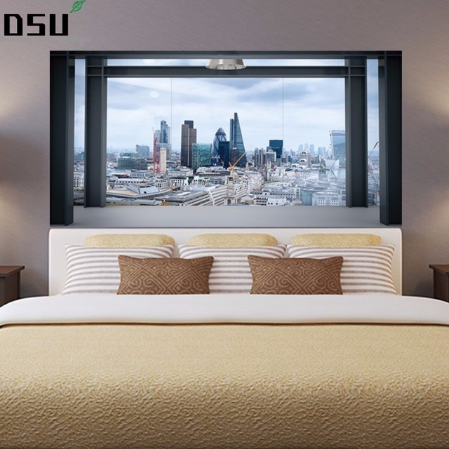 New Brief Style Creative City View Bed Headboard Wall Sticker
