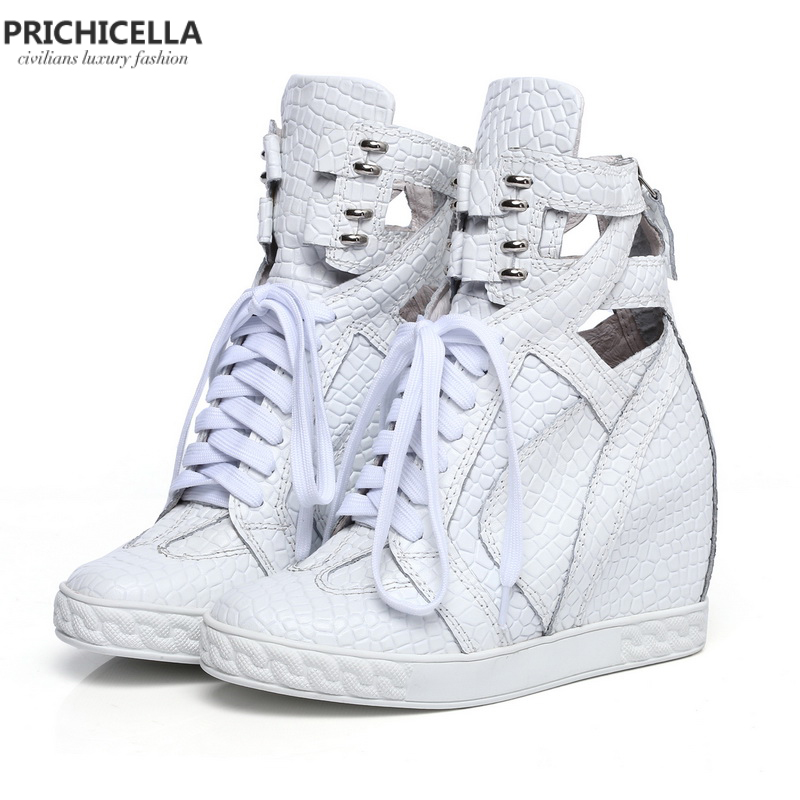 PRICHICELLA quality women shoes Genuine leather white cut out lace up wedges shoes