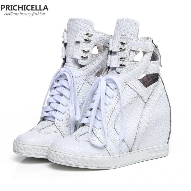 PRICHICELLA kaliteli kadın ayakkabı Hakiki deri beyaz cut out dantel-up takozlar...