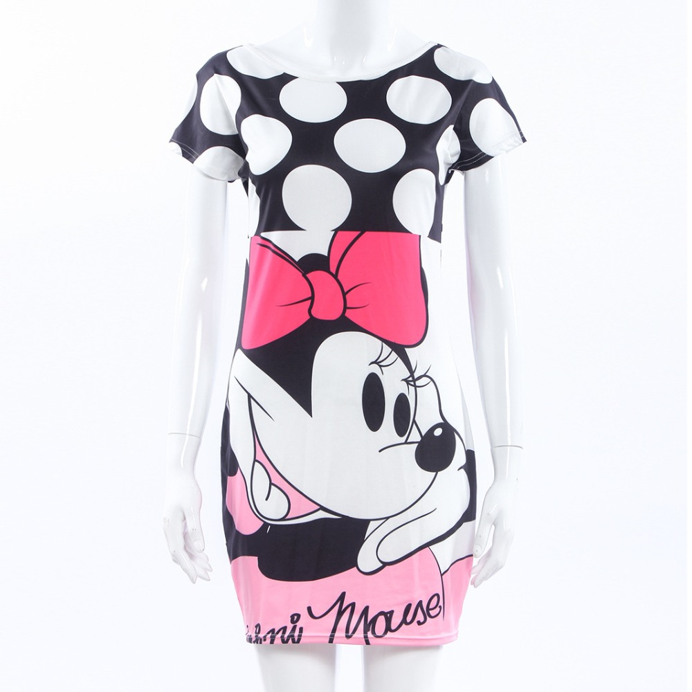 Minnie Mouse Dress Printing Dot Sleeveless Party Dress Girl Costumes Halloween Summer cotto Minnie Mouse Print Bag Hip Dress