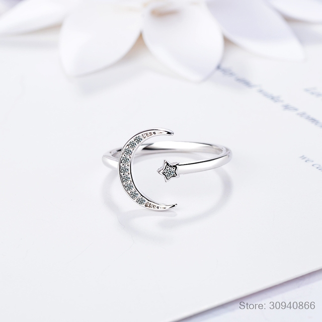 100% 925 Solid Real Sterling Silver Fine Jewelry Moon Star CZ Cocktail Opening Ring Sizable For Women Girl Gift DA27 5