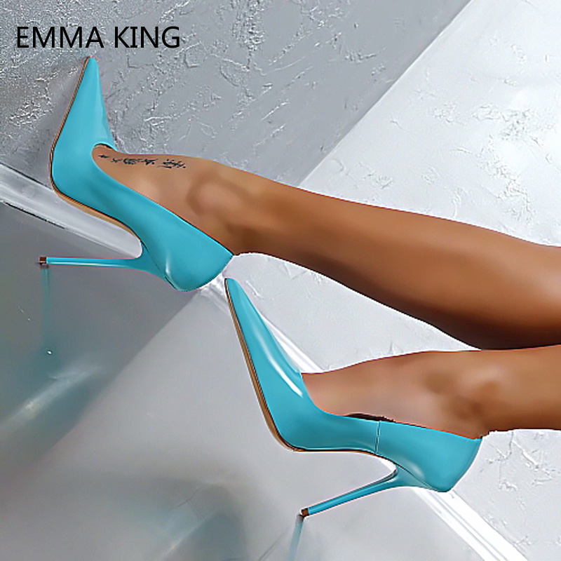 Blue Super High Heels 10 12cm Sexy Party Nightclub Shoes Concise Comfortable Patent Leather Shoes Woman Spring Summer Pumps 2019Blue Super High Heels 10 12cm Sexy Party Nightclub Shoes Concise Comfortable Patent Leather Shoes Woman Spring Summer Pumps 2019