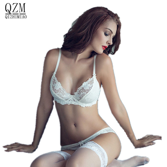 4ffe6ad87181b QIZHIMIAO new 2017 Fashion sexy full transparent lace bra set women  underwear vintage euro super stars design styles