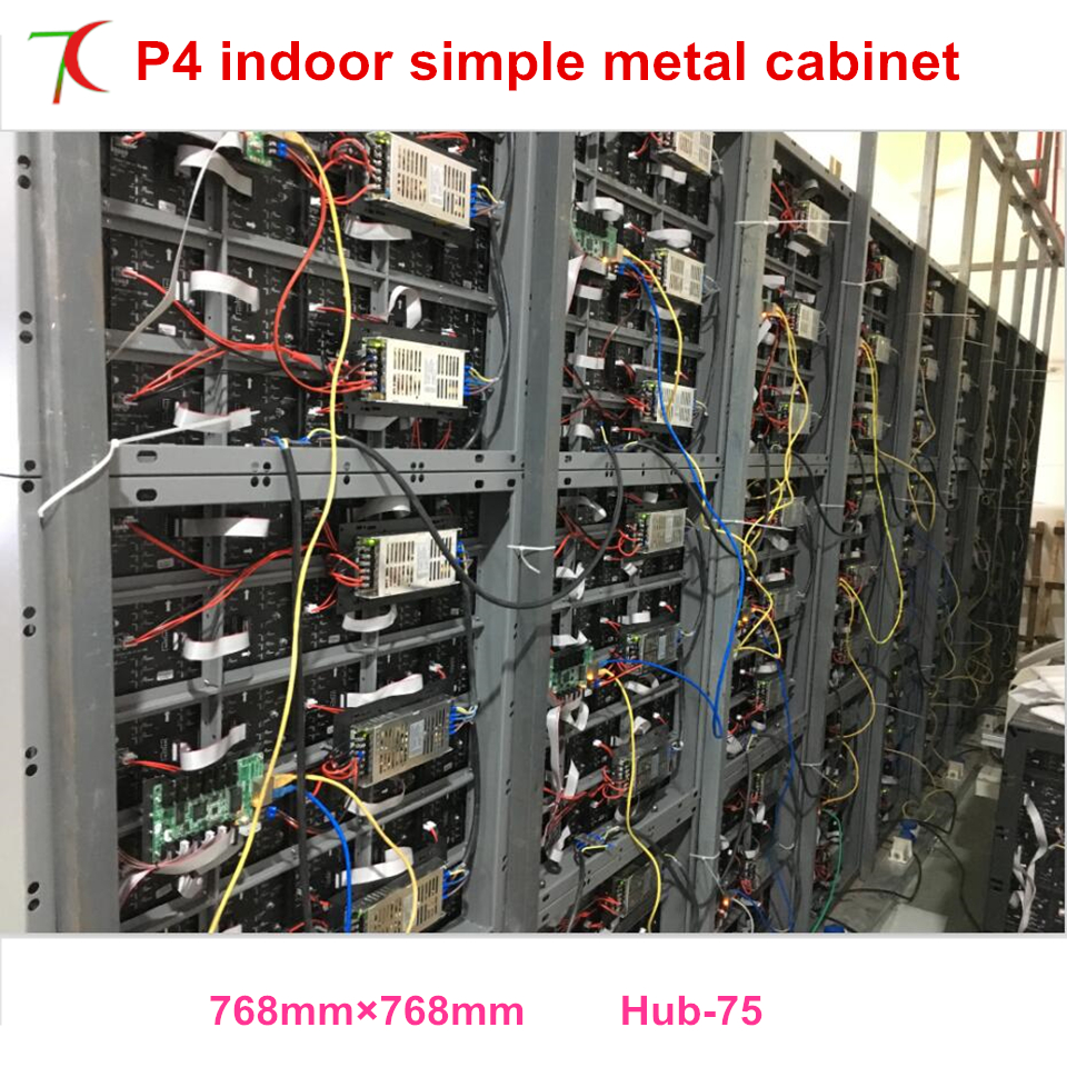 768*768mm P4 indoor simple metal cabinet screen use for fix installation led display,625000dots/sqm ...