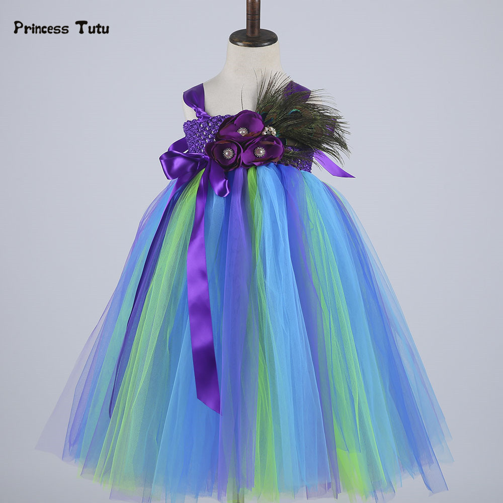 Princess Girls Peacock Tutu Dress Kids Tulle Feathers Flower Girl Dresses Wedding Pageant Ball Gown Girl Birthday Party Vestidos