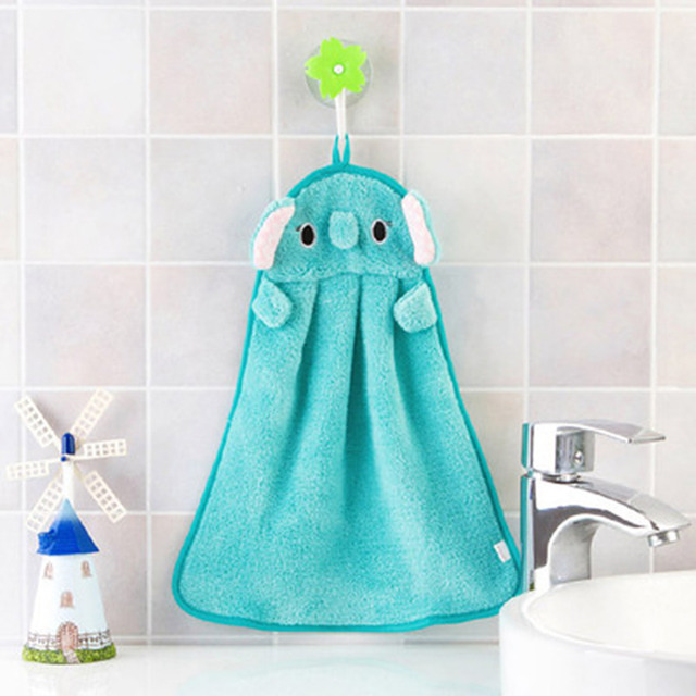 Children's Hand Towels Cute Animal Shape Wipe Hanging Bathing Towel Cartoon Coral Fleece Towel Can Be Hold For Baby Bath