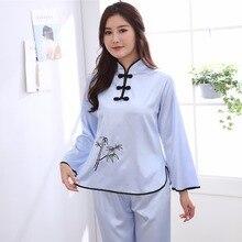 2 шт. синие женские сексуальные атласные пижамы костюм китайский стиль пижамы с вышивкой комплект весна осень новая одежда для сна Nightwear
