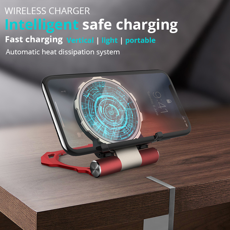 Image 3 - Metal Iron Man Wireless Charger For Samsung S9 S8 iPhone Xs/8plus/X Fold Phone Stand Wireless Charging Bracket For Huawei Xiaomi-in Mobile Phone Chargers from Cellphones & Telecommunications