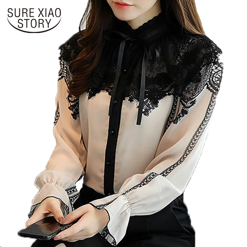 2019 new women tops fashion long sleeved   blouses   stand chiffon lace patchwork   shirts   office lady flare sleeve   blouses   D253 25
