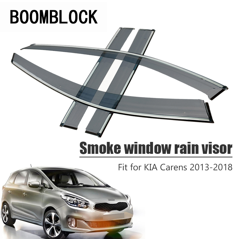 Rain Black Plastic Sun Smoked Door Visor For KIA RONDO CARENS 2007 2012