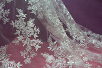 Computer embroidered lace fabric high quality bridal ivory lace 130cm wide