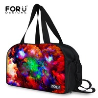 FORUDESIGNS 3D Galaxy Space Star Printing Canvas Women Men Travel Duffle Bags Large Capacity Luggage Travel