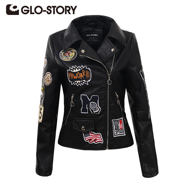 GLO-STORY 2018 Autumn Fashion Women Embroidery Rivet PU Leather Jacket Chic Slim Long Sleeve Appliques Outerwear Coats 5588